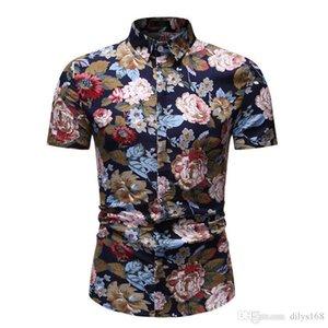 Nueva personalidad de la moda Desgaste de los hombres Diseño de hombre de lujo Camisas casuales Cultivate Moda Ocio Tiempo de ocio Flor de manga corta