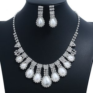 Womens Bridal Wedding Pageant Rhinestone Necklace Earrings Jewelry Sets Party Bridal Jewelry