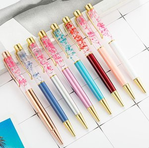 Luxury 1.0mm Quicksand Ballpoint Pen Flow Oil Crystal Gold Foil Metal Pens For Kids Gift School Supplies Office Stationery SN5272