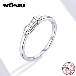 Cluster Rings WOSTU 2021 Belt Buckle Ring 100% 925 Sterling Silver Retro Geometric Finger For Women Wedding Party Fashion Jewelry FIR645