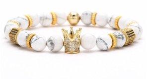 2021 8mm XG453 Gold Argent Crown Crown Micro Pave CZ Zirconia Cubic Zircon Bracelet Noir Volcanique Lava Onyx Imperial Bracelets