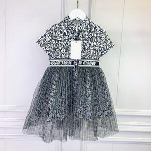 여자 짧은 소매 어린이 메쉬 스티치 드레스 브랜드 회색 컬러 디자이너 여름 소녀 드레싱 크기 100-10
