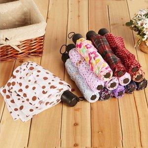 패션 홈 sundries 남성과 여성 일반 애호가 세 배 인쇄 격자 무늬 접이식 우산 도매