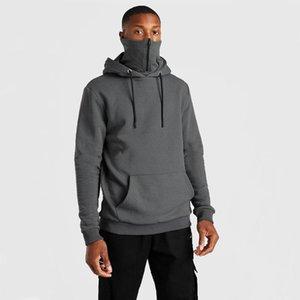 Erkek Hoodies Tişörtü 2021 Kış Kapüşonlu Maske Fermuar Kazak Katı Renk Dış Ticaret Peluş Hoodie