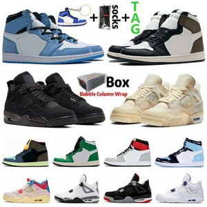 University Blue 1 1s Pine Green Royal Toe Obsidian UNC Mens Basketball Shoes Sail Black Cat 4 4s What The Guava Ice Bred Sports Women Sneakers