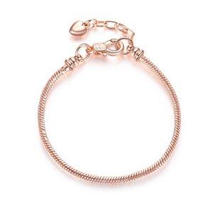 Vente en gros 16-21cm Argent Plaqué Charm Perles Bracelet 3mm Snake Chain Spouse Fermoir Fit Perles Européennes Pour Pandora Bracelet Charme Perles Bercel Bijoux Bricolage