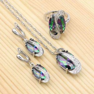 Mystic Rainbow Cubic Zirconia Sets 925 Sterling Silver Bridal Jewelry For Women Wedding Necklace Earrings Pendant Ring