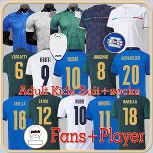 Fans Player version 2021 Italy soccer jerseys INSIGNE Renaissance 21 22 football shirt set CHIELLINI BONUCCI BERNARDESCHI BELOTTI BARELLA men uniforms