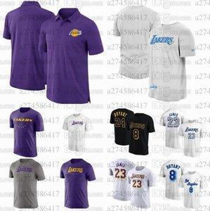 남자 농구 팬들이 티셔츠를 탑재합니다앤젤레스레이커스23 제임스 3 Davis 30 Drummondblack 아이콘 플레이어 번호 폴로 티셔츠