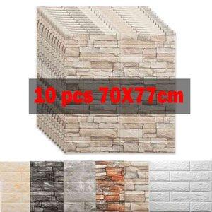 10pcs 3D Wall Sticker Panels Imitation Brick Self Adhesive Wallpaper Kitchen Bedroom Decor Living Room Home House Decoration TV 210831