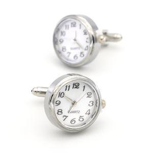 Watch Real Clock Cuff links With Battery Cufflinks Machine Core Mechanical cuffs Relojes gemelos