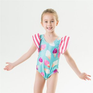 One-Pieces Baby Girls Sweet Swimsuit,Children Summer Breathable Ice Cream Pattern Short Sleeve U-shaped Neck Swimwear For Vacation