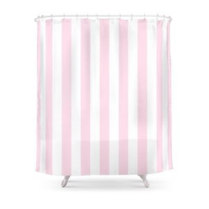 Shower Curtains Pink And White Stripes, Vertical Curtain With Hooks Home Decor Waterproof Bath Creative 3D Print Bathroom