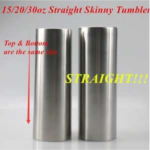 Straight Skinny Tumbler 15oz 20oz 30oz Stainless Steel Vacuum Insulated Slim Cup Beer Coffee Mug Glasses with Lid and Straw