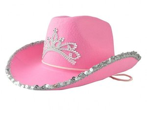 Wide Brim Hats Pink Cowboy Cowgirl Hat Western Tiara For Women Girl Cap Holiday Costume Party