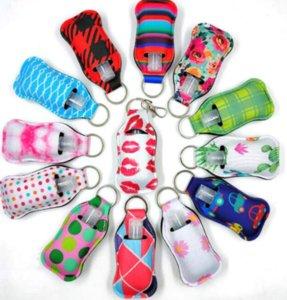 Customize Neoprene Hand Sanitizer Bottle Holder Keychain Bags 30ML Key Rings Hand soap Bottle Holder ju0688