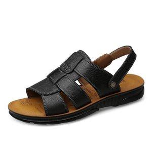 Мужские кожаные сандалии 2021 летняя обувь мужская подлинная случайная мужская дышащая ретро гуляющая обувь