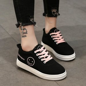 2021 Spring New Style Sports Sneakers Lovey Smiley Face Lace-Up Women's Flat Shoes 210322