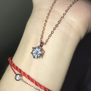Classic Women Pendant Clavicle Chain Six Claw Imitation Zircon Female Necklace for Women Jewelry Necklaces