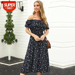 A-Line Summer Slow Slow Slash Pescoço Impressão Acima do joelho, mini short streetwear ruffles natural vestidos msfilia # 0U08