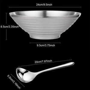 Pcs 304 Stainless Steel Double Layer Ramen Noodle Bowl,with Spoon,for Udon Soba Pho Pasta Salad Cereal (9.5-Inch) Bowls