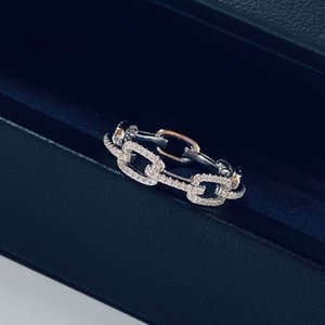 925 Sterling Silver Chain Link Ring CZ Diamond Wedding Finger Rings Hop Hip Fashion Jewelry Gift for Women