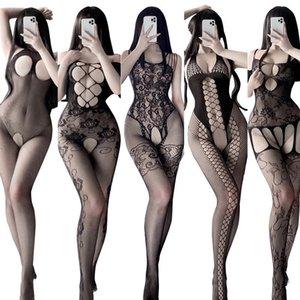 Bras Sets Paloli 15 Style Body Stocking 3Pcs Set Open Crotch Stretch Mesh Sexy Lingerie Teddies Bodysuit Erotic Outfit Plus Size Underwear