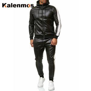 ПУ кожаные две части набор мужчин спортивная пружина с капюшоном набор повседневная искусственная кожаная куртка брюки мотоцикл спортивный костюм панк