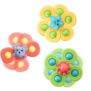 New Creative Sucker Spinning Top Toy 3 Pcs Sucker Baby Toy Baby Bath Toy Baby Bathroom Water Pool Toys For Girls Boys Gifts L0323