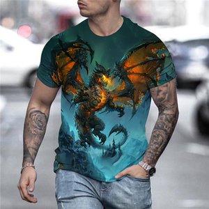 2021 Cartoon Games Dragons 3D Print T-Shirts Men Oversized Summer Casual Streetwear Cosplay Costume T Shirt Fashion Harajuku Top Tees Unisex Clothing