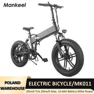 Mankeel MK011 Elektrische Fahrrad Faltbare Smart Scooter 20 Zoll 750W Leistung LED-Licht E-Bike 10.4AH Batterie 40km Kilometerstand Sport Mountain Bikes Polen Warehouse