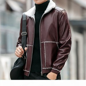 Men PU Jacket Fall-New Winter Warm Mens Leather Jacket Fashion Plus Size 6XL Fur Coat Wool Liner Shearling Jackets and Coats
