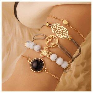 Charm Bracelets Fashion Design 5PCS Women Boho Multilayer Bracelet Set Beach Style Chain Jewelry Gift 2021 Daily Accessories