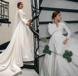 Modest country crepe Wedding Dresses Jewel Neck Satin Sexy Backless Robes De Mariée Sweep Train Custom Made Boho Wedding Dress