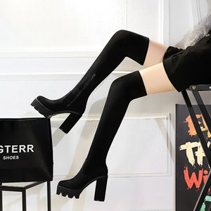 Over-The-Knee Long Boots Suede High Heel Womens shoes Waterproof Platform Square Heel High Tube Sexy Stretch Boots