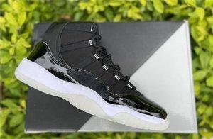 اليوبيل 25th Anniversary 11 أحذية كرة السلة أعلى جودة ألياف الكربون الحقيقية jumpman 11s واضح-أبيض - معدني الفضة مصمم المدربين أحذية رياضية تأتي مع مربع