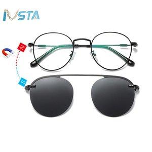 IVSTA Clip On Glasses Men Clip On Sunglasses Women Magnetic Sunglasses Myopia Round Metal Optical Glasses Frame Prescription 210323
