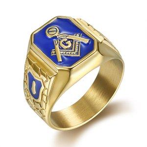 Hip Hop Jewelry Titanium Steel Accessories Religious Men's Ring Masonic Ag Ringia56