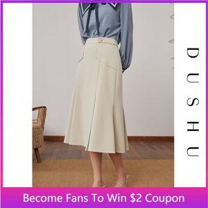 Skirts DUSHU Plus Size Office Lady Pleated Trumpet Skirt Women High Waist Long Black Spring Summer White Elegant Female