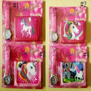 2 unids / lote Unicorn Moneder Bag Set Girls Papelería Monederos Bolsos Pliegue Pink Fillet Historieta Rosa Almacenamiento Bolsillo Reloj Niños Organizador GGA1209 WGBKE
