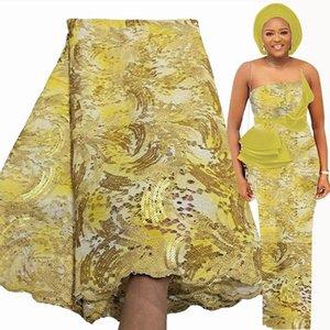 2021 Luxus Gold Französisch Spitze Stoff 5 Yards Hohe Qualität Pailletten Stickerei Raschel Lace Afrikaner Nigerianer Hochzeitskleid Stoff