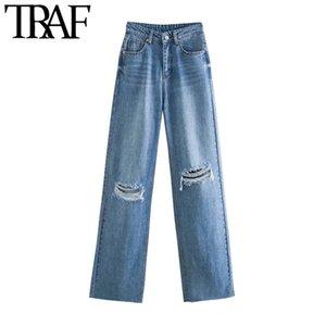TRAF Kadınlar Chic Moda Yırtık Delik Geniş Bacak Kot Vintage Yüksek Bel Fermuar Fly Denim Pantolon Kadın Pantolon Mujer 210312