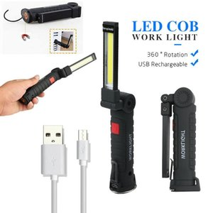 Portable Spotlight Working Light Rechargeable COB LED Slim Work Lamp Inspect Fold Torch Multifunction Flashlights Torches