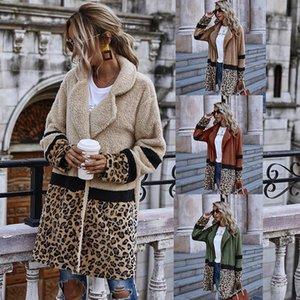 Women's Wool & Blends 2021 Open Stitch Flocking Plush Jacket Women Autumn Winter Leopard Patchwork Coat Female Casual