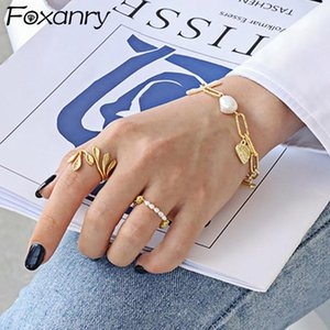 Cluster Rings Foxanry 925 Sterling Silver Olive Leafs For Women INS Fashion France Gold Plated Elegant Wedding Bride Jewelry Gifts