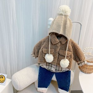 Boys girls fleece splicing plaid coat kids plush lapel long sleeve casual outwear fall winter children thicken warm clothes Q2748