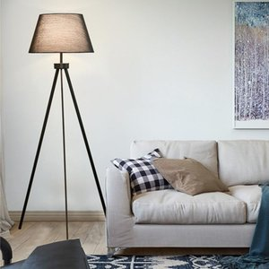 Fabric Shade Floor Lamp Metal Big Nordic E27 Lampholder White Or Black Stand House Lighting Lamps