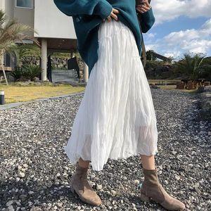 Skirts Summer White Boho Chiffon Pleated Women Spring Black Beach Long Skirt Vintage High Waist Elastic Patchwork