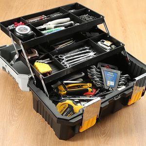 Plastic Portable Toolbox Three-layer Anti-fall Garage Organizer Large-capacity Hard Casecajas Household Items EK50TB Tool Organizers