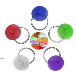 Silicone Waterless Fermenting Airlock Lids Covers Stainless Steel Band for Wide Mouth Mason Jar Sealed Lid Kitchen Supplies RRD11093
